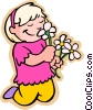 girl smelling flowers Vector Clipart illustration