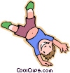 Vector Clipart picture  of a boy doing cartwheel