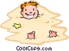 Vector Clip Art image  of a playing in sand