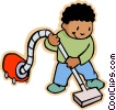Vector Clip Art picture  of a cleaning up
