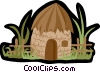 village hut, grass hut Vector Clipart illustration