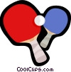 ping pong paddles and ball Vector Clipart picture