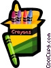 Vector Clipart graphic  of a box of crayons