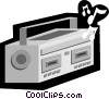 portable tape player, cassette player, boom box Vector Clipart illustration