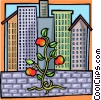 Vector Clipart picture  of a tomatoe plants trying to thrive city