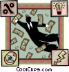 Vector Clip Art graphic  of a chasing money