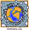 Vector Clipart graphic  of a The earth and nuclear energy