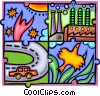 Industry and development at odds with nature Vector Clipart illustration