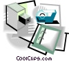 Vector Clipart image  of a filing cabinet, tape, notebook