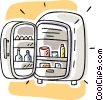Vector Clipart illustration  of a small refrigerator