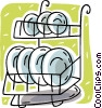 Vector Clip Art picture  of a plate rack
