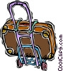 Vector Clip Art image  of a suitcase dolly