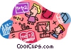 web-enabled distributed learning, education Vector Clipart graphic