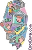 Vector Clip Art image  of a electronic commerce and the
