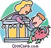 Vector Clip Art graphic  of a young man opening a bank