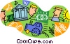 farmer financing crops, delivering to market Vector Clip Art picture