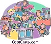 Vector Clipart graphic  of a bankers lending money to