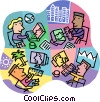 Vector Clipart image  of a Internet chat around the world