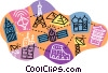 worldwide communications networks Vector Clipart graphic