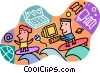 Vector Clip Art picture  of a surfing the Internet