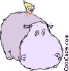 Vector Clipart graphic  of a hippopotamus