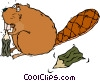 beaver, chewing on a tree Vector Clipart picture