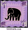 Vector Clip Art graphic  of a elephant with palm trees