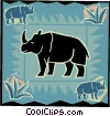 Rhinoceros in modern frame design Vector Clip Art picture