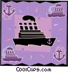 luxury cruise ship Vector Clip Art graphic