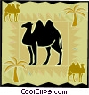 camel with palm trees Vector Clipart graphic