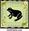 Vector Clipart picture  of a frog in modern frame design