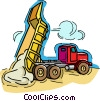 dump truck, dumping load of gravel Vector Clip Art picture