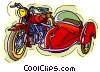 Vector Clipart graphic  of a motorcycle with sidecar