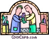 Vector Clip Art image  of a buying a ticket