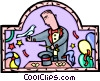 magician with props Vector Clipart graphic