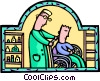 doctor with patient in a wheelchair Vector Clip Art graphic