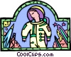 Vector Clipart image  of an astronaut with spaceship