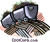 coal cars riding the rails in a coal mine Vector Clipart image