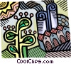 industry and the environment at odds Vector Clip Art picture