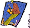 Vector Clipart illustration  of a playing a saxophone