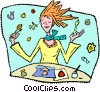 Vector Clip Art picture  of a girl with arts and crafts