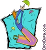 Vector Clip Art graphic  of a girl with umbrella