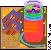 coffee beans and coffee mill Vector Clipart graphic