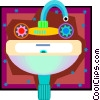 pedestal sink, bathroom, washroom Vector Clip Art image