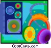 Vector Clipart picture  of an audio headphones and speaker