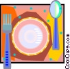Vector Clip Art image  of a place setting in decorative