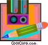 Vector Clipart graphic  of a pencil and pencil sharpener