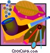 Vector Clipart image  of a pipe and smoking instruments