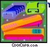 Vector Clip Art graphic  of a stapler and staples in