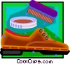 Vector Clip Art image  of a shoe polish, shoe and buffing brush